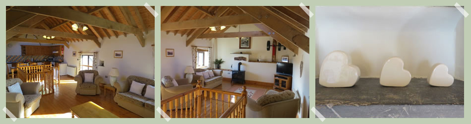 The upper level is open plan with its oak roof and original beams.